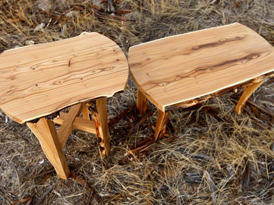 Small tables made of Russian olive wood by Andrew Bishop of River Bottom Restoration Furniture.