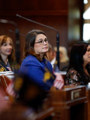Sen. Sara Gelser, D-Corvallis, listens to one of her peers speak in the Senate Chamber at the Oregon Capitol Building in Salem, Oregon, Wednesday, Nov. 15, 2017.