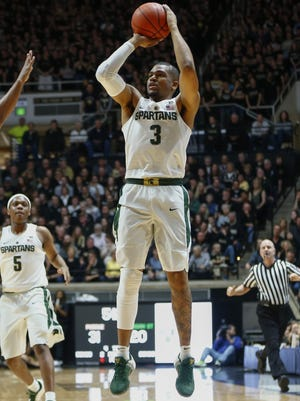 Alvin Ellis III of Michigan State shoots a jumper against Purdue on Feb. 18, 2017, in West Lafayette, Ind.