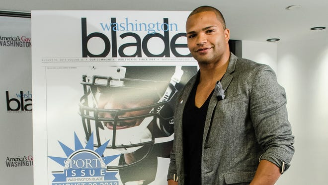 Brendon Ayanbadejo during a press conference where the NFL and the Washington Blade partnership announcement advancing LGBT issues in professional sports at Donovan House Hotel on June 6.
