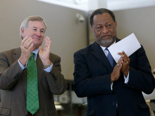 Montgomery Mayor Todd Strange, left, and Elton Dean,