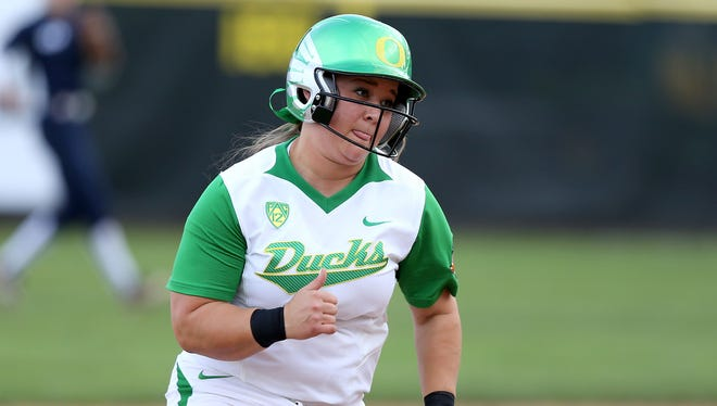 Oregon's Hailey Decker during their game with BYU on Thursday, May 14, 2015, in Eugene, Ore.