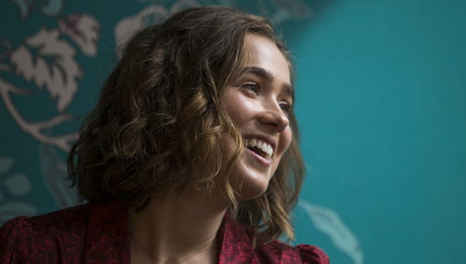 "Haley Lu Richardson talks about made-in-Indiana film ""Columbus"" Thursday in Indianapolis."