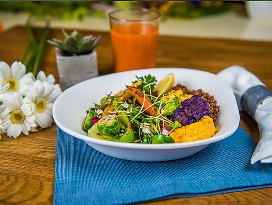Rustic Farm Bowl with organic quinoa, baby bok choy,