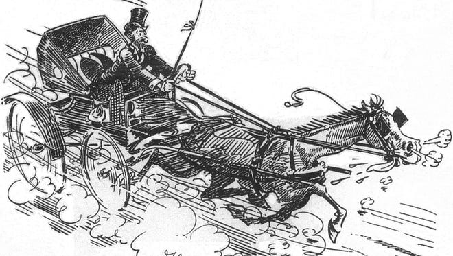 Nationally syndicated artist Gaar Williams drew scenes from Richmond set in the latter part of 19th century memorializing his youth. This particular action-packed image shows a runaway horse pulling a buggy. One of today's stories is about such a panicked horse.
