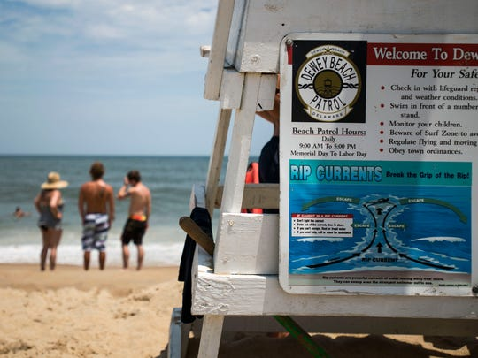 Lifeguard stations in Dewey Beach provide guidelines for escaping rip currents.