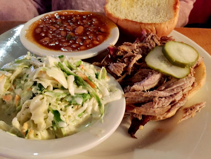 The Carolina pulled pork sandwich with cole slaw and