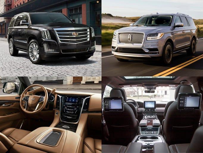 2018 Cadillac Escalade, left column and the 2018 Lincoln