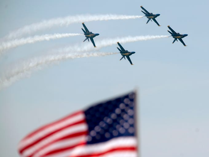 The Blue Angels perform Saturday, July 14, 2018 during