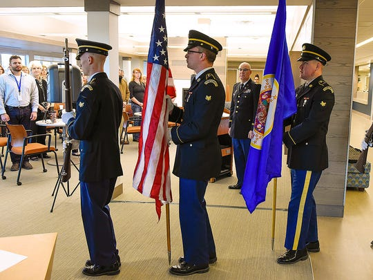 The Minnesota National Guard Honor Guard Team presented the colors at the start of the awards presentation Thursday, Nov. 10, at the HomeFront Resource Center, St. Cloud Community & Technical College.