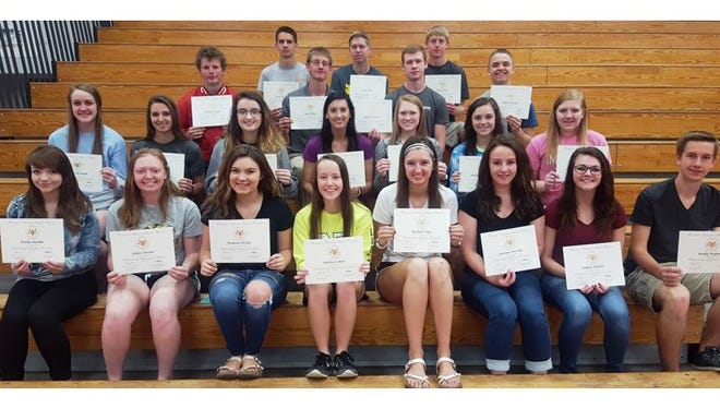 Neillsville High School 2017 seniors who graduated with honors are, front row from left: Trisha Naedler, Ashlee Diestler, Brianna Fischer, Malory Zickert, Michelle Kyle, Arianna Perschke, Dakota Watton and Brady Wegner; second row: Abigail Meshnick, Krista Krultz, Jocelyn Thur, Kayla Lis, Morgan Hauge, Mindy Schoengarth and Lexi Opelt; third row: Jonathan Mayer, Paul Miller, Dylan Hensiak and Adam Schmidt; and fourth row: Jacob Ollech, Adam Hayes and Cody Holman.
