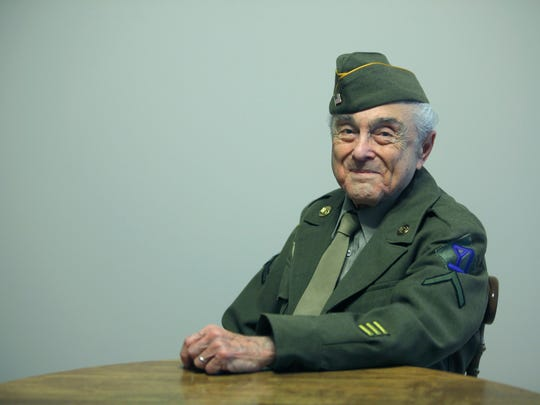 D-Day 70th anniversary story: United States Army private first class (PFC) Donald Matina,89, was at D-Day, seen here at his home in Webster, N.Y. on Tuesday June 3 2014.