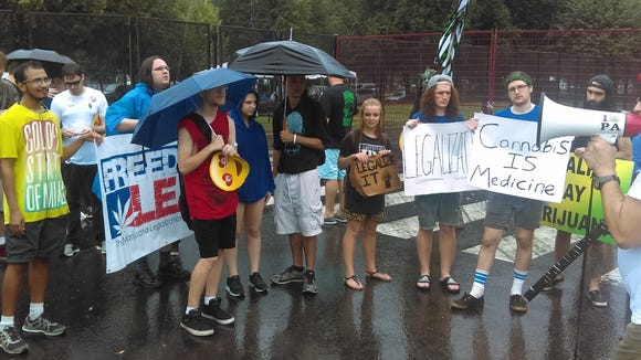 Less than 150 protesters rallied for marijuana legalization