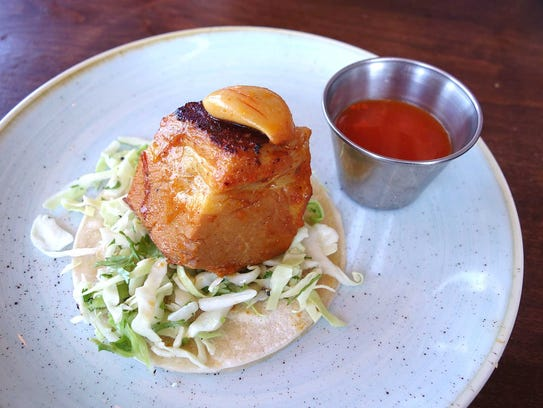"Pork belly ""agridulce"" taco with sweet and sour braised"