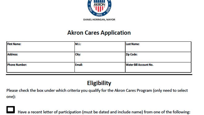 Applications for financial help with late water and sewer bills can be downloaded at https://bit.ly/3iM8sAr or picked up and returned to Room 211 at 146 S. High St. in downtown Akron. Completed forms may also be emailed to ubo@akronohio.gov.