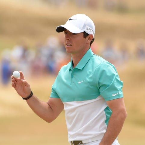 Rory McIlroy after putting on the 5th green in the first round of the 2015 U.S. Open golf tournament at Chambers Bay.
