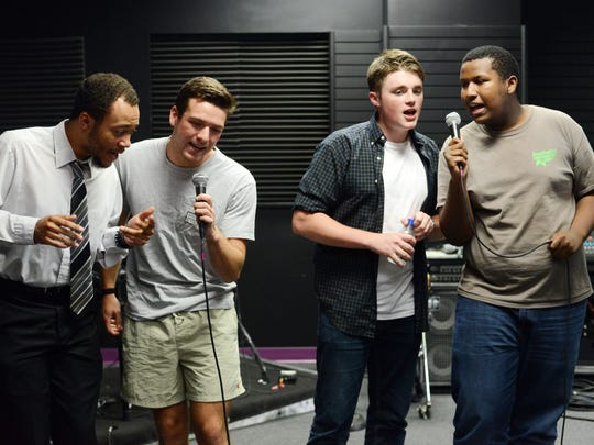 From left, Julian Daniel, Braden Thayer, Austin Rambo, and Tobias Dubose rehearse for CTE Goes Live at Stellar Vision and Sound on Wednesday, May 3, 2017.