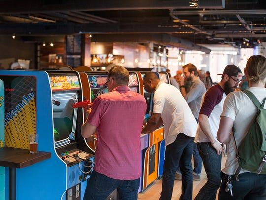 The interior of Cincinnati's 16-Bit Bar + Arcade.