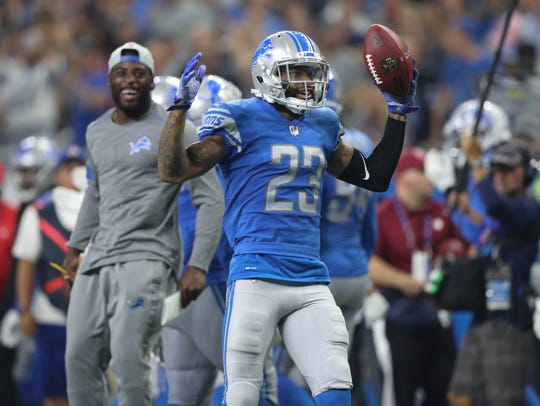 Darius Slay celebrates his interception in the third