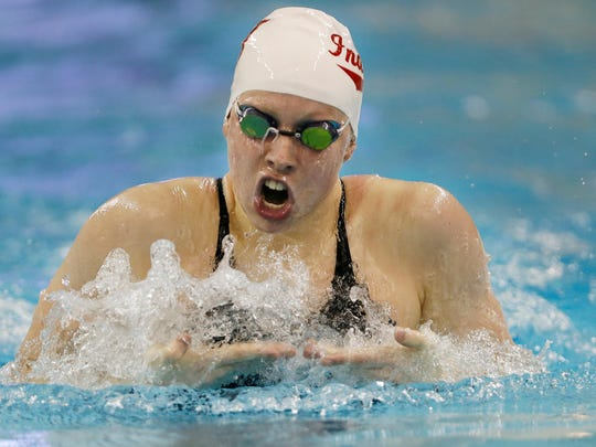 Indiana's Lilly King swims the breaststroke leg of