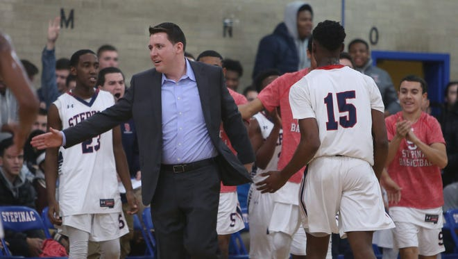 Stepinac coach Pat Massaroni is pictured during his team's 53-51 loss to Iona Prep on Jan. 6, 2016. The teams meet at Stepinac at 7:30 p.m. Friday.