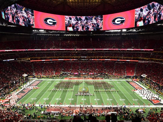 A view of the Georgia  marching band pregame show before