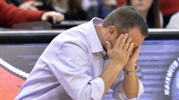 Louisville's head coach Jeff Walz reacts to a call during the second half of an NCAA college basketball game against Bowling Green, Saturday, Nov. 19, 2016, in Louisville, Ky. Louisville won 83-58. (AP Photo/Timothy D. Easley) ORG XMIT: KYTE115