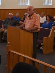 Mountain Home Mayor Joe Dillard addresses the Baxter