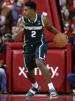 Michigan State forward Javon Bess drives the ball down the court against Maryland on Jan. 17, 2015, in College Park, Md.