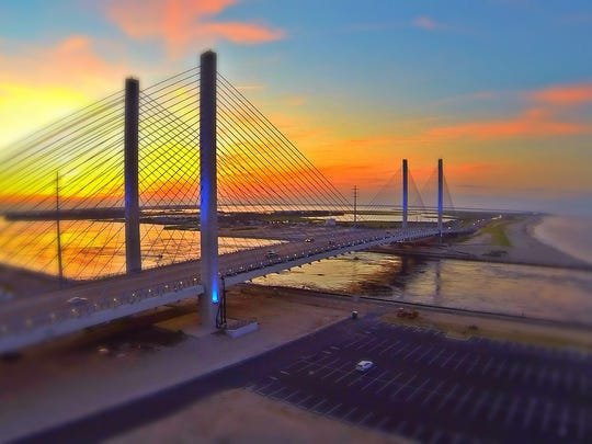 The Indian River Inlet Bridge is photographed using a consumer-model drone.