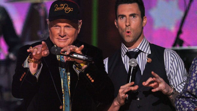Singers Mike Love of The Beach Boys  Adam Levine of Maroon 5 perform onstage at the 54th Annual GRAMMY Awards held at Staples Center on February 12, 2012 in Los Angeles, California.