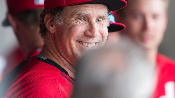 Actor Will Ferrell plays third base for the Cincinnati Reds during their spring training game against the Arizona Diamondbacks at Salt River Fields at Talking Stick on Thursday, March 12, 2015.