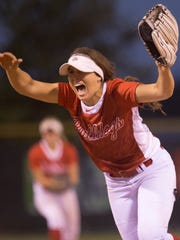 Alexis Holloway yells at the last out, as Crown Point