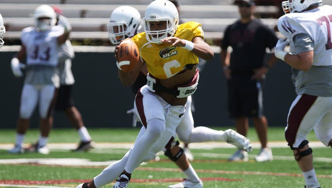 Junior quarterback Caleb Evans three two touchdowns passes to senior wide receiver Marcus Green that covered five and 62 yards in ULM's spring football game on Saturday.