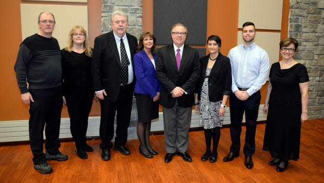 Silver Lake College held its annual Alumni Awards Dinner earlier this month. Recipients included, from left, Cyril and Betsy Clavers, of Brillion, Distinguished Parents Award; Michael Slavin, of Stevens Point, Distinguished Alumni Award; Patricia Sprang, of Manitowoc, Excellence in Servant Leadership Award; SLC President Chris Domes; April Jaure, of Kaukauna, Excellence in Servant Leadership Award; Derek Domino, of Manitowoc, Outstanding Recent Alumni Award; and Teresa Ann Schroepfer, of Green Bay, Alumni Award for Excellence in the Fine Arts. Not pictured is Al Keith, of Manitowoc, Outstanding Recent Alumni Award.