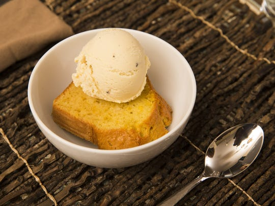 Orange blossom olive oil cake with sweet corn and black pepper ice cream by Top Home Chef finalist Jordan Urnovitz.
