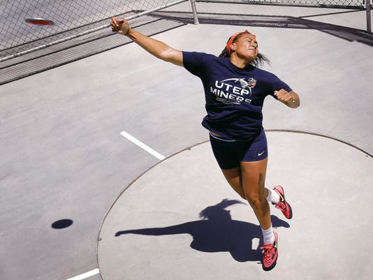 UTEP thrower Taylor Gunn prepares for the Conference USA track meet, which will be held at UTEP this year.