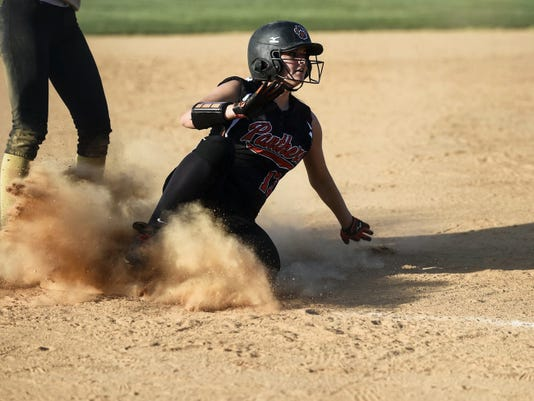 Central York's Kelsey Shifflett slides safely into third base during the Panthers' eight-run sixth inning.