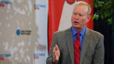 Mick Cornett is interviewed during the Republican National Convention on July 21, 2016.