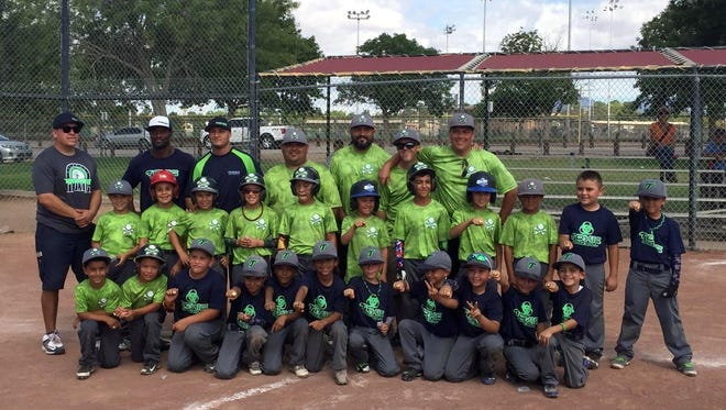 The Deming Bone Crushers (neon green jerseys) were ranked 10th in the nation in the USSSA Power Rankings for the U8 division of Youth Baseball. The traveling team has been competitive in the area for the past four years, playing in tournaments in Ruidoso, El Paso, Alamogordo and Las Cruces. They finished second in the Global World Series back in July of last year and won the Whole Enchilada Tournament in Sept. of 2015, beating Toxic 1-0 in extra innings. The team photographed with the Bone Crushers is Toxic. The BC players are (in no order) Daniel Mosier III, Devon Carbajal, Isaac Martinez, Liam Esquivel, Jose Duran, Jaime Gamboa, Zeke Sanchez, Champ Chacon, Noah Peña, Nathan Lopez, Anthony Chavez, Andrew Chavez and Kaleb Marrufo. Coaches are: Danny Mosier Jr., Dave Mosier, Jason Carbajal and Ray Esquivel. The team will be in action this weekend at the Bataan Tournament in Las Cruces.