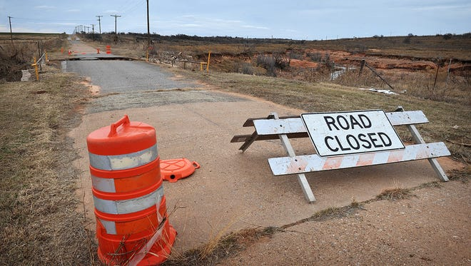 The Bohner Road Bridge northwest of Burkburnett was partially washed out during record-setting rains in May of last year and has been closed since.