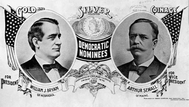 Democratic nominees for president William J. Bryan of Nebraska and Arthur Sewall of Maine for vice president, nominated at Chicago, Friday, July 10, 1896.