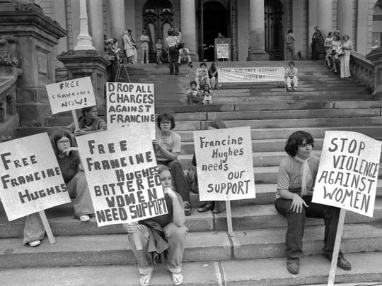 A Francine Hughes rally at the state capitol, Sept. 1, 1977.
