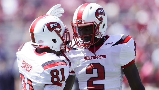 Sep 10, 2016; Tuscaloosa, AL, USA; Western Kentucky Hilltoppers wide receiver Kylen Towner (81) and Western Kentucky Hilltoppers wide receiver Taiwan Taylor (2) prior to the game against the Alabama Crimson Tide at Bryant-Denny Stadium. Mandatory Credit: Marvin Gentry-USA TODAY Sports