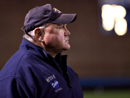 Whitefish Bay head coach Jim Tietjen watches his offense