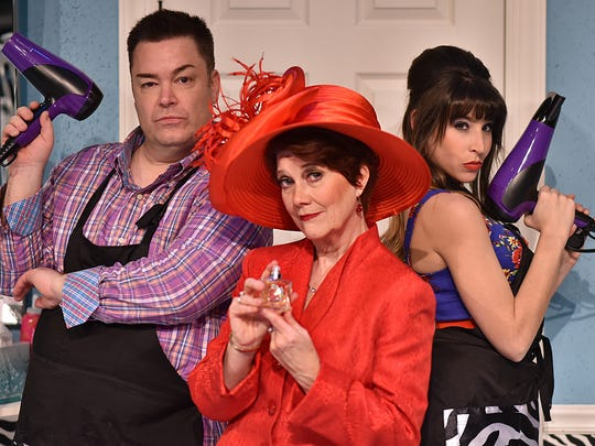 "Daniel Klingler (from left), Suzanne Stark and Jenny Reber star in Beef & Boards Dinner Theatre's ""Shear Madness,"" running Dec. 29, 2016, through Jan. 29, 2017. The comic mystery set in a hair salon is making its Indiana debut with this run."