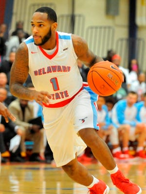 Delaware State's DeAndre Haywood had the game-winning shot to give the Hornets their first MEAC win of the season.