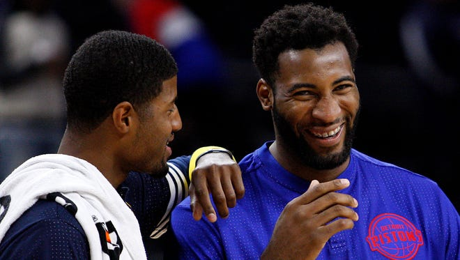 Detroit Pistons center Andre Drummond, right, laughs after a game against the Indiana Pacers at the Palace of Auburn Hills.