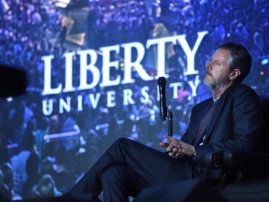 Liberty University President Jerry Falwell Jr. is seen during a convocation at the Vines Center on the campus of Liberty University on Dec. 9, 2015.