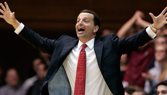 Elon Phoenix coach Matt Matheny reacts on the sidelines in a game against Duke last season.